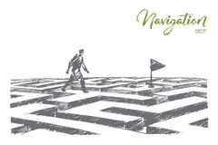 Hand drawn man walking on maze to navigation flag Royalty Free Stock Photo