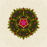 Hand drawn Mandala, circular colored pattern for decoration, colored mandala decor, mandala flowers and leafs. Boho Royalty Free Stock Photo