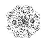 Hand drawn mandala with different flowers, anti stress therapy p. Attern, coloring book. Raster illustration royalty free illustration