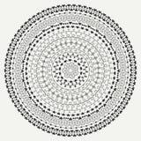 Hand drawn mandala ornament. Geometric pattern. Line border frame design element. Doodles. Vector illustration Stock Images