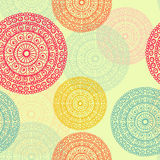 Hand drawn mandala seamless pattern in retrol tones Royalty Free Stock Photos
