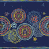 Hand drawn mandalas seamless border  in indian style Stock Image