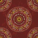 Hand drawn   mandalas seamless pattern Stock Photography