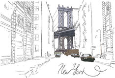 Hand drawn Manhattan bridge with street vector illustration Stock Images