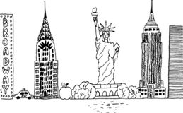Hand-drawn Manhattan New York USA cityscape stock illustration