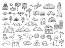 Hand drawn map elements. Sketch hill mountain, tree and bush, buildings and clouds. Vintage engraving vector symbols for. Cartography. Animal and pointer, sun vector illustration