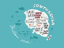 Hand-drawn map of Korea vector with names of areas illustration, design poster Stock Image