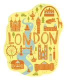 Hand drawn map of London in cartoon style royalty free illustration