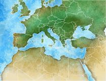 Hand-drawn map of the Mediterranean Stock Image