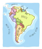 Hand drawn  map of South America. Text, line  and colors on different layers. Perfect for infographics. Includes Brazil, Argentina, Chile, Paraguay, Uruguay Royalty Free Stock Images
