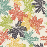 Hand Drawn Maple Leaves Vintage Seamless Pattern Stock Photos