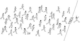 Hand drawn marathon runners. Tiny hand drawn marathon runners and a winner crossing the finish line Stock Image