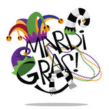 Hand drawn Mardi Gras type with hats and beads Royalty Free Stock Image