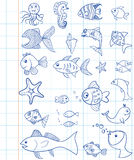 Hand drawn marine animals Royalty Free Stock Images