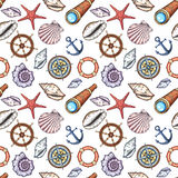 Hand drawn marine background. Seamless pattern with seashells and nautical objects Royalty Free Stock Photos