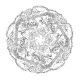 Hand drawn  marine doodle circle ornament. Stock Images