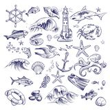 Hand drawn marine set. Sea ocean voyage lighthouse shark crab octopus starfish knot crab shell lifebuoy collection stock illustration