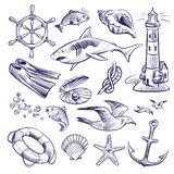 Hand drawn marine set. Sea ocean voyage lighthouse shark knot shell lifebuoy seagull anchor steering wheel royalty free illustration