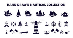 Hand drawn marine vector illustrations set. Royalty Free Stock Photos