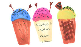 Hand drawn marker ice cream set. Isolated design elements, illustration Stock Photography