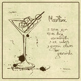 Hand drawn Martini cocktail Stock Photography