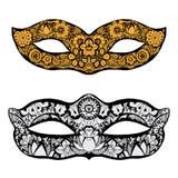Hand drawn mask. Set of Hand drawn ornamental masks. Vector art illustration Royalty Free Stock Images