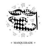Hand Drawn Mask, Shoe, Stars and Lips Arranged in a Circle. Doodle Masquerade Symbols. Royalty Free Stock Photo