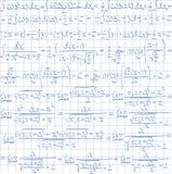 Hand drawn math vector seamless pattern. Mathematical vector seamless pattern with trigonometrical formulas and integrals. Vector illustration stock illustration