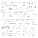 Hand drawn mathematical equation with handwritten algebra formulas. Geometry figures on white paper. Exercise book. Handwriting scribble. Vector seamless Royalty Free Stock Image