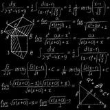 Hand drawn mathematical vector seamless pattern with  formulas,  integrals and geometrical figures. Chalk on a Stock Photos