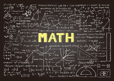 Hand drawn mathematics formulas on chalkboard for background, banner, book cover and etc. for education industry