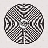 Hand drawn maze labyrinth with eye in it. Royalty Free Stock Photo