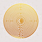 Hand drawn maze labyrinth with sun in it. Royalty Free Stock Photo