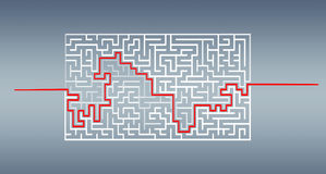 Hand-drawn maze with solution sketch. On blue background Stock Photos