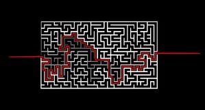 Hand-drawn maze with solution sketch. On blue background Stock Photography