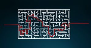 Hand-drawn maze with solution sketch. On blue background Royalty Free Stock Photography