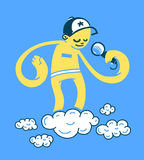 Hand drawn MC. A hand drawn MC standing on the cloud Stock Photography