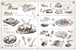 Hand drawn meat dishes for menu design. Vector royalty free illustration