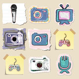 Hand drawn media and entertainment emblems set Royalty Free Stock Photography