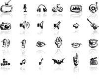 Hand drawn media icon set Royalty Free Stock Photography