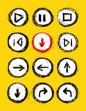 hand drawn media player buttons set Stock Photography