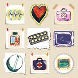 Hand drawn medical emblems set. Isolated Royalty Free Stock Photography