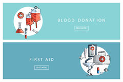 Hand drawn medical and healthcare concepts. Blood donation and First aid. Banners for web design, marketing and promotion. Presentation templates Stock Image