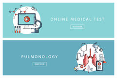 Hand drawn medical and healthcare concepts. Online medical test and Pulmonology. Banners for web design, marketing and promotion. Stock Images