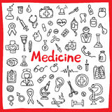 Hand drawn medical icons set. Vector illustration. (Tools, organs, symbols) Stock Image