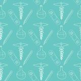 Hand drawn medical seamless pattern. Pharmacy vector background. Doodle medicine design. Health theme illustration Stock Image