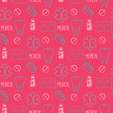Hand drawn medical seamless pattern. Pharmacy vector background. Doodle medicine design. Stock Photo