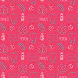 Hand drawn medical seamless pattern. Pharmacy vector background. Doodle medicine design. Royalty Free Stock Image