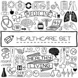 Hand drawn medical set of icons Stock Image