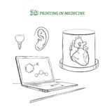 Hand Drawn Medical Technology Innovations Concept stock illustration